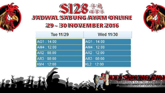 Jadwal Terbaru Adu Ayam Online Tanggal 29-30 November 2016