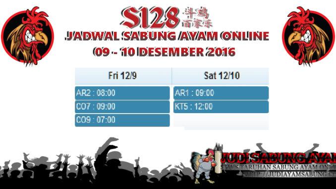 Jadwal Adu Ayam Online 09-10 Desember 2016