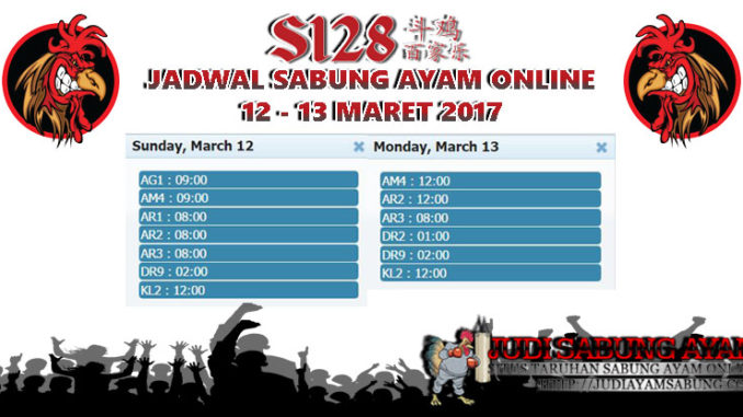 Jadwal Sabung Ayam Online 12 - 13 maret